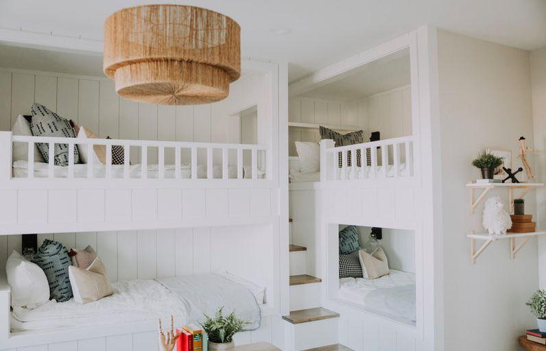 White bedroom with bunkbeds