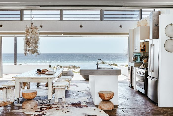 Beach-front vacation home dining area with multi-purpose stools
