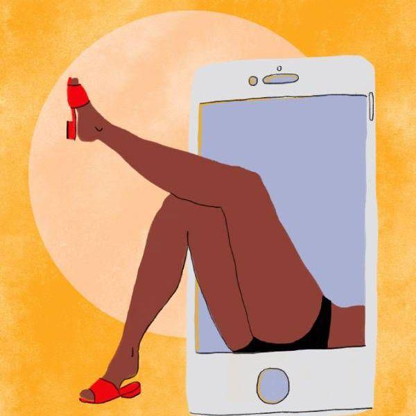 Una ilustración de las piernas de una mujer saliendo de un teléfono celular