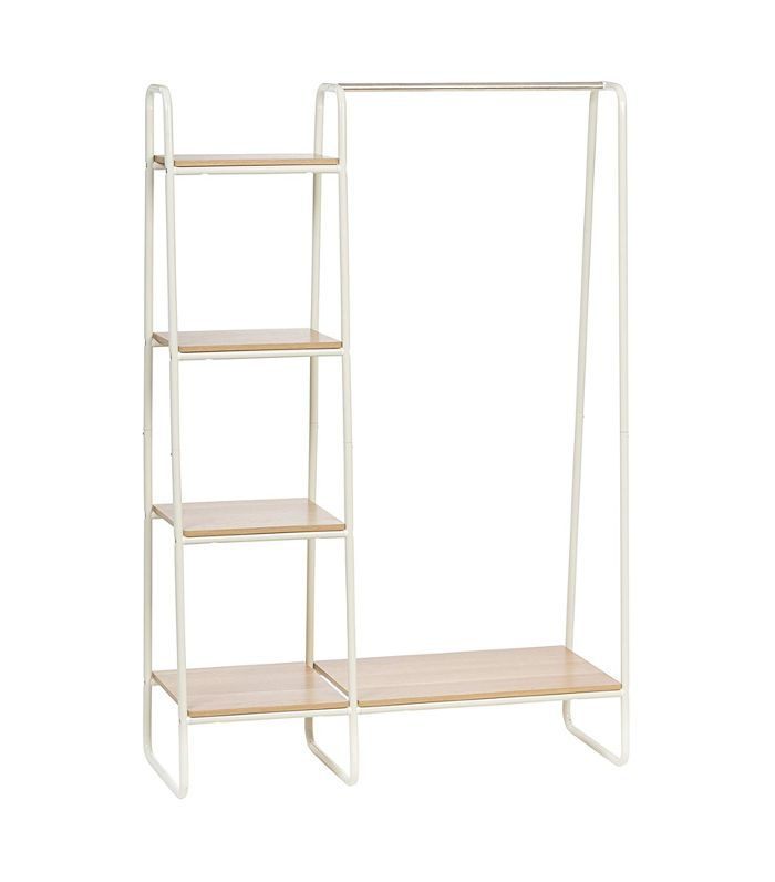 Iris Metal Garment Rack With Wood Shelves Everything Expecting Parents Need to Set Up a Baby-Friendly Laundry Room