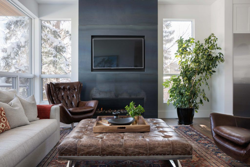 Modern family room with plants