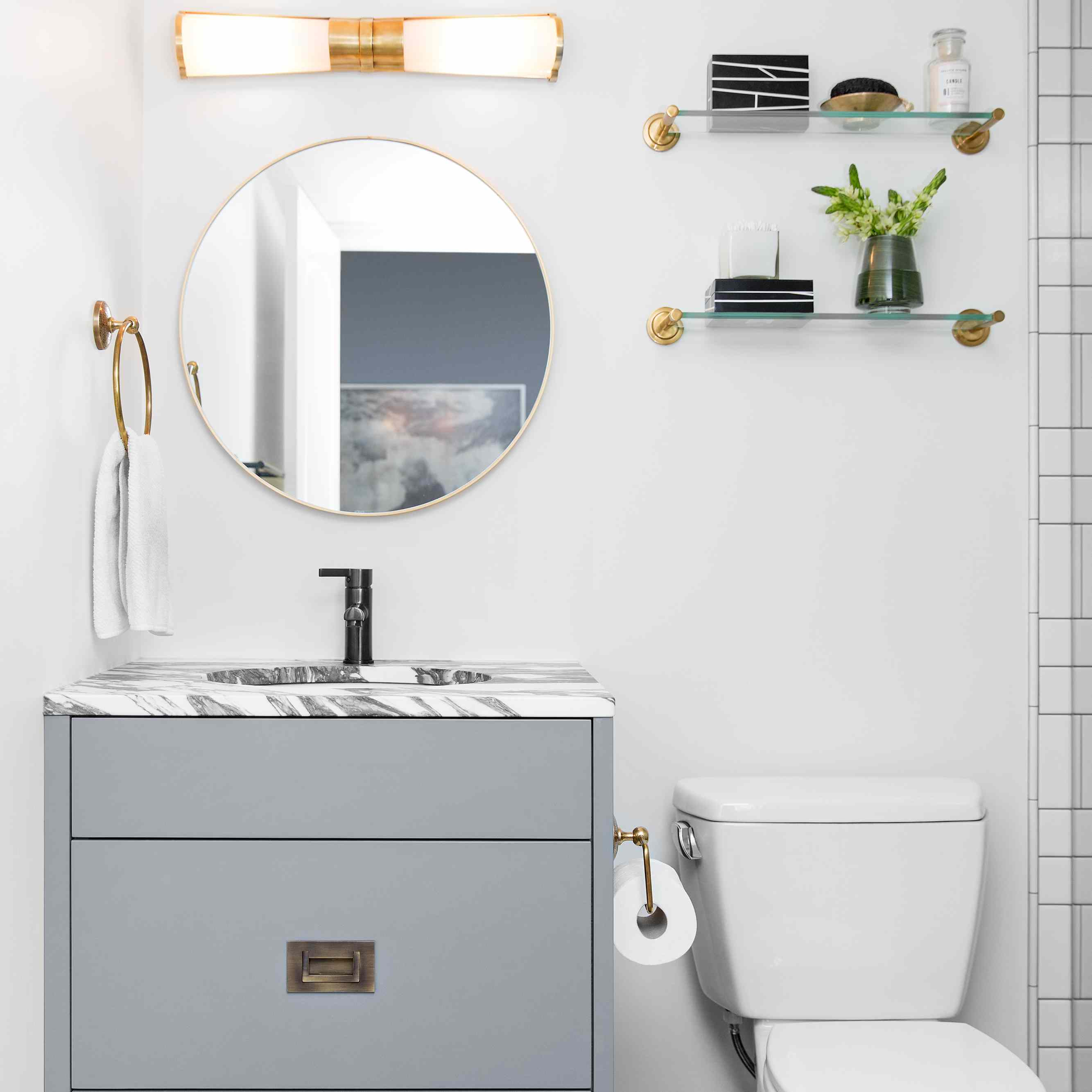 over the toilet storage glass shelves