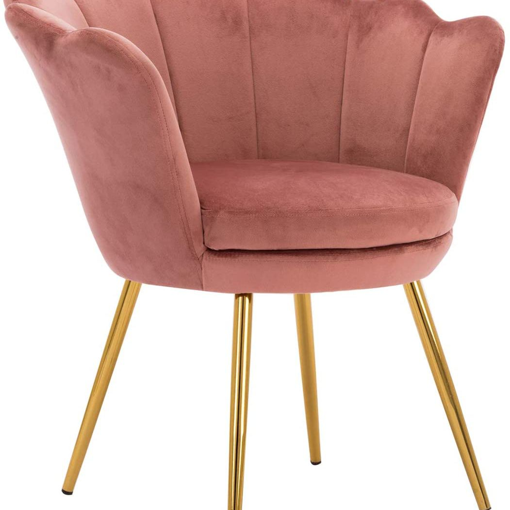 Pink scalloped chair.