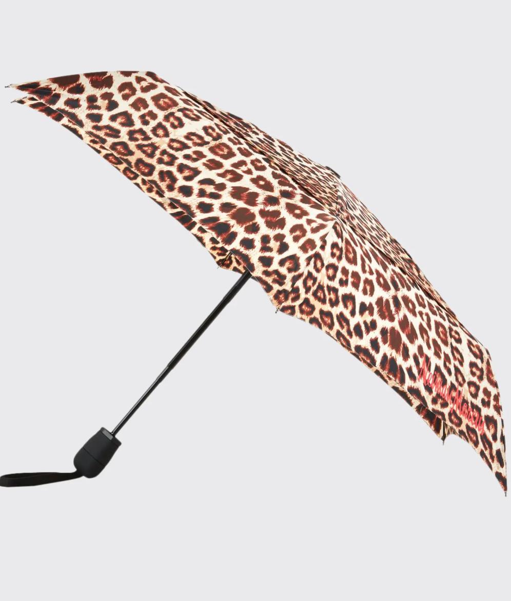 Paraguas con estampado de leopardo compacto con ventilación y apertura automática WindPro Flatwear