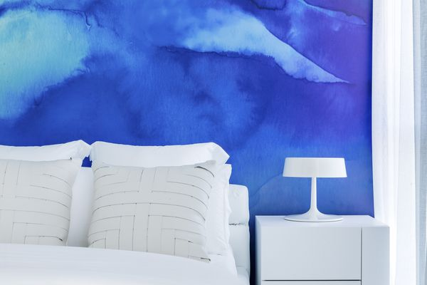 joy dressing your home - blue mural bedroom with white bedding
