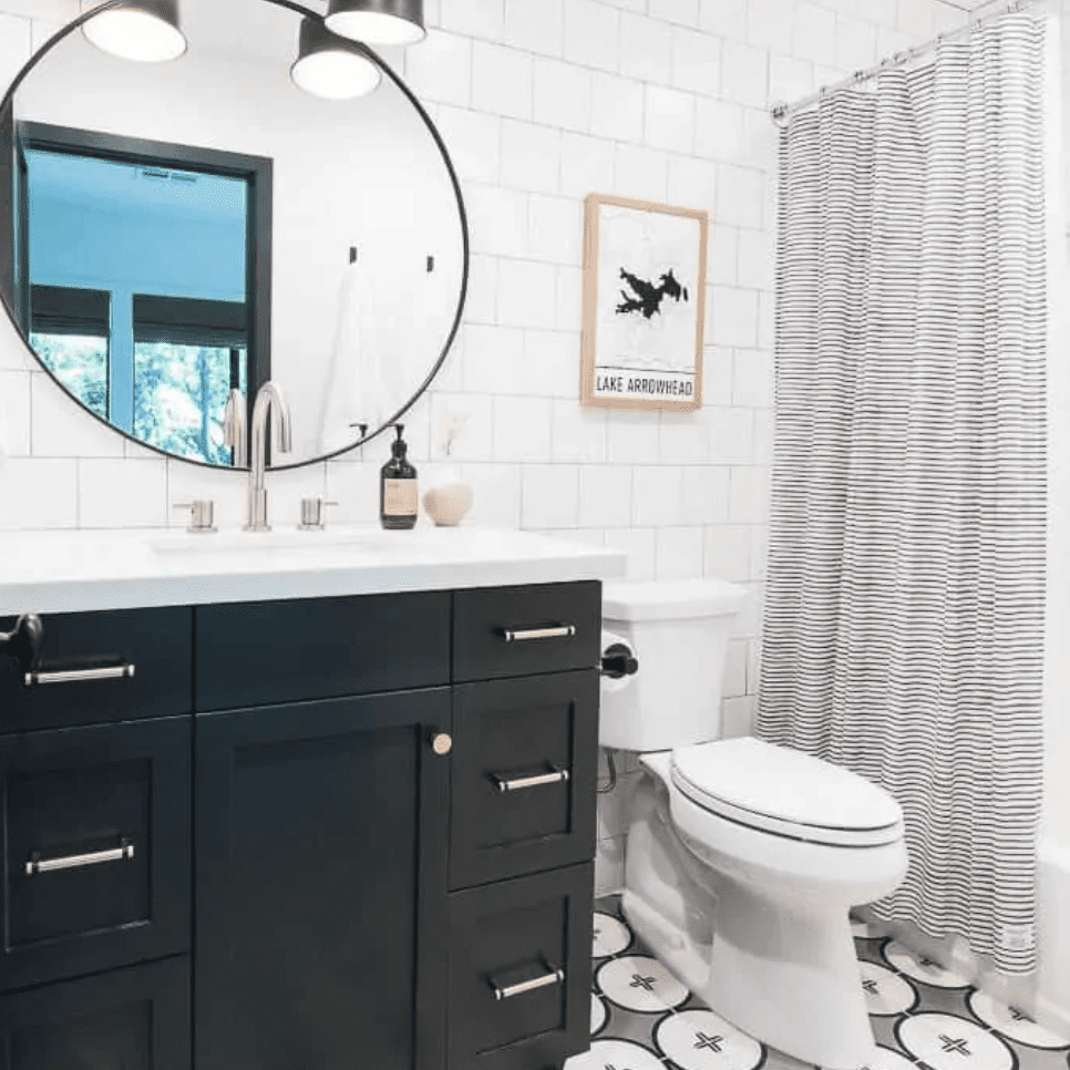 A bathroom with bold printed tiles and a printed shower curtain