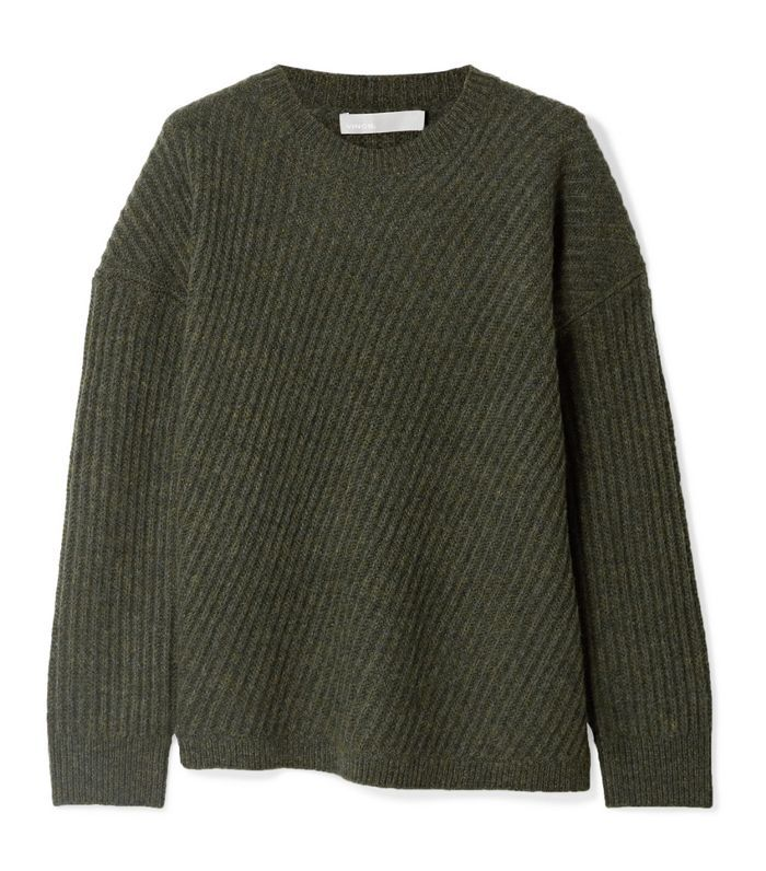 Asymmetric Ribbed Wool-blend Sweater