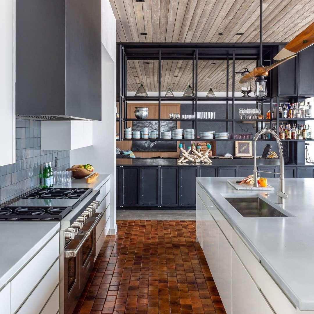 Kitchen with orange tile