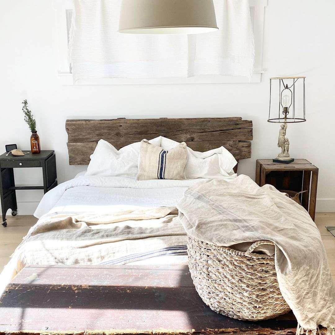 bedroom with natural wood headboard