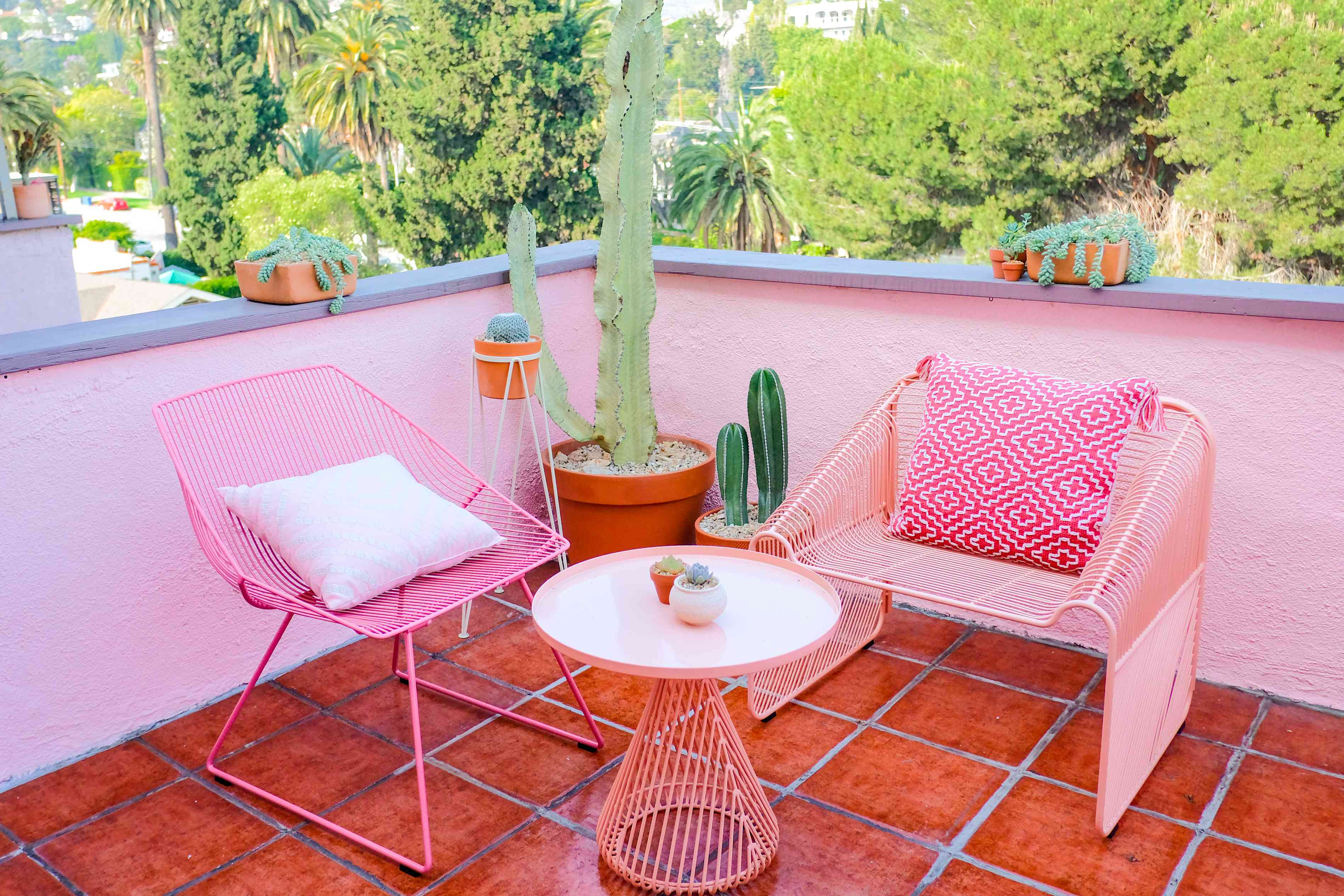 apartment patio with bold color