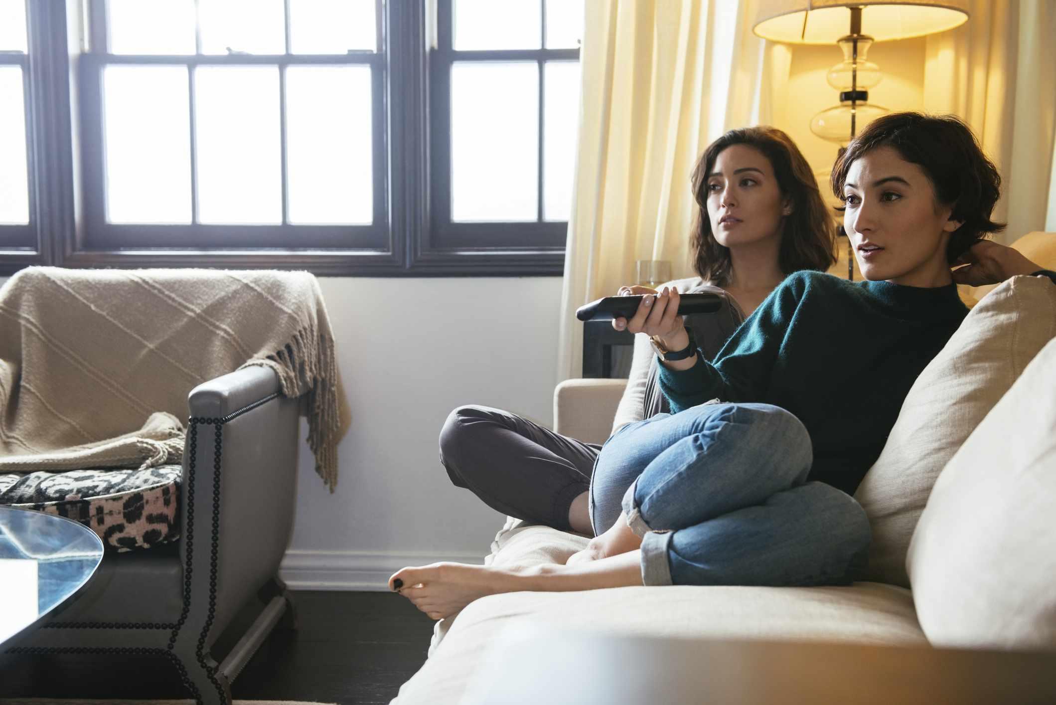 women watching movie