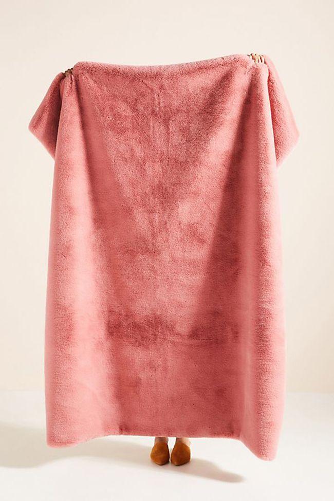 Pink faux fur throw blanket