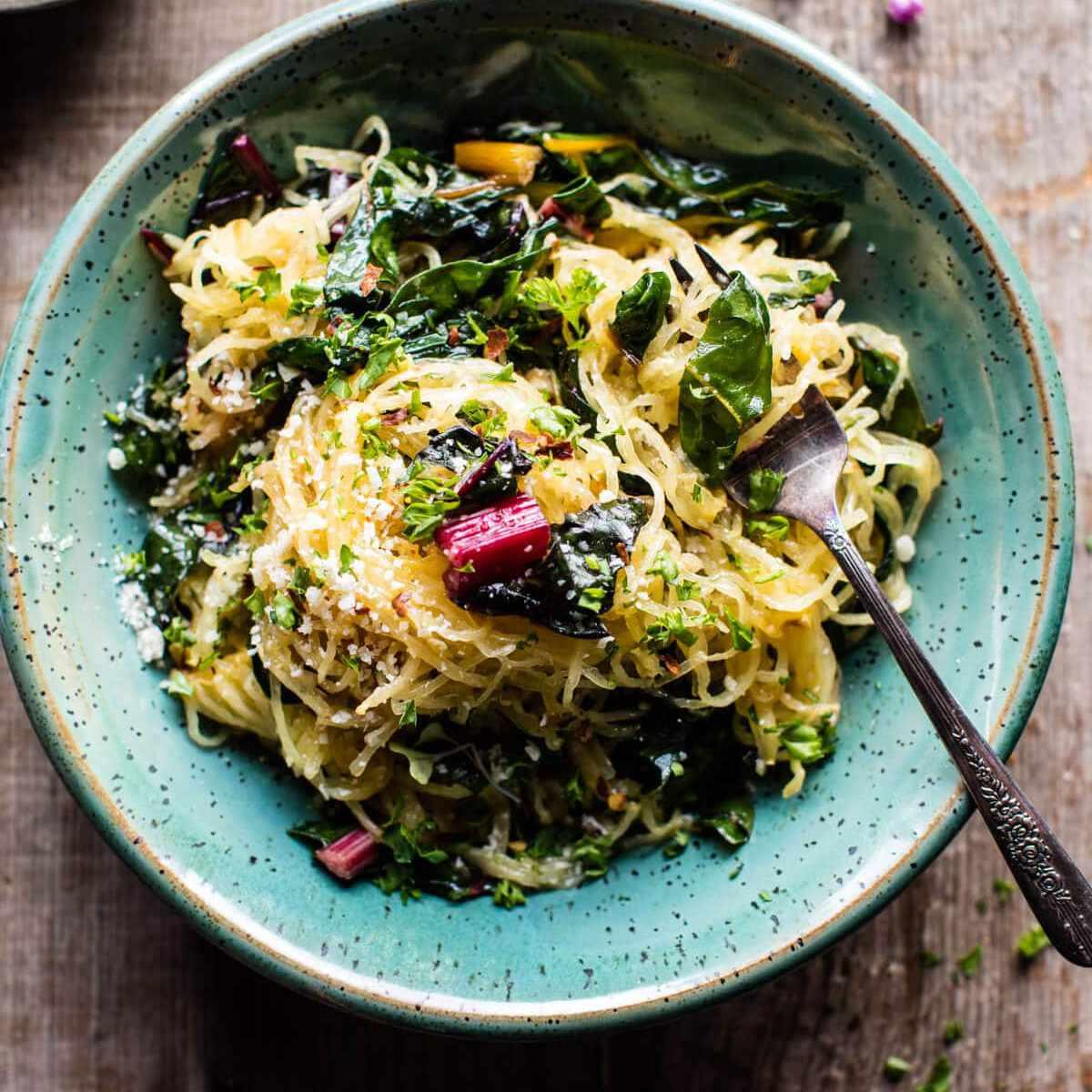 calabaza espagueti aglio e olio