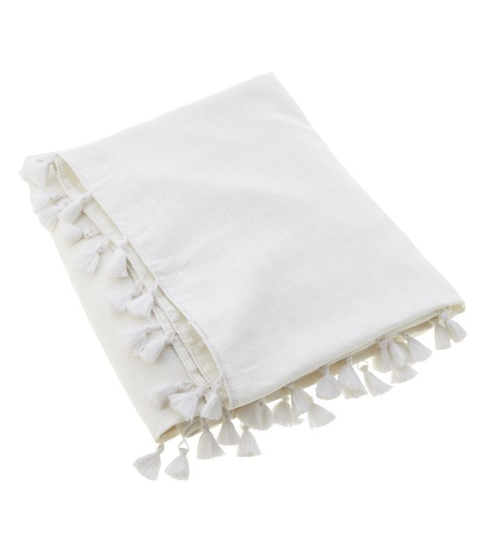 CB2 Linen White Throw with Tassels