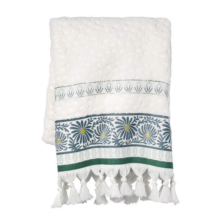 Target Peacock Feather Border Bath Towel White