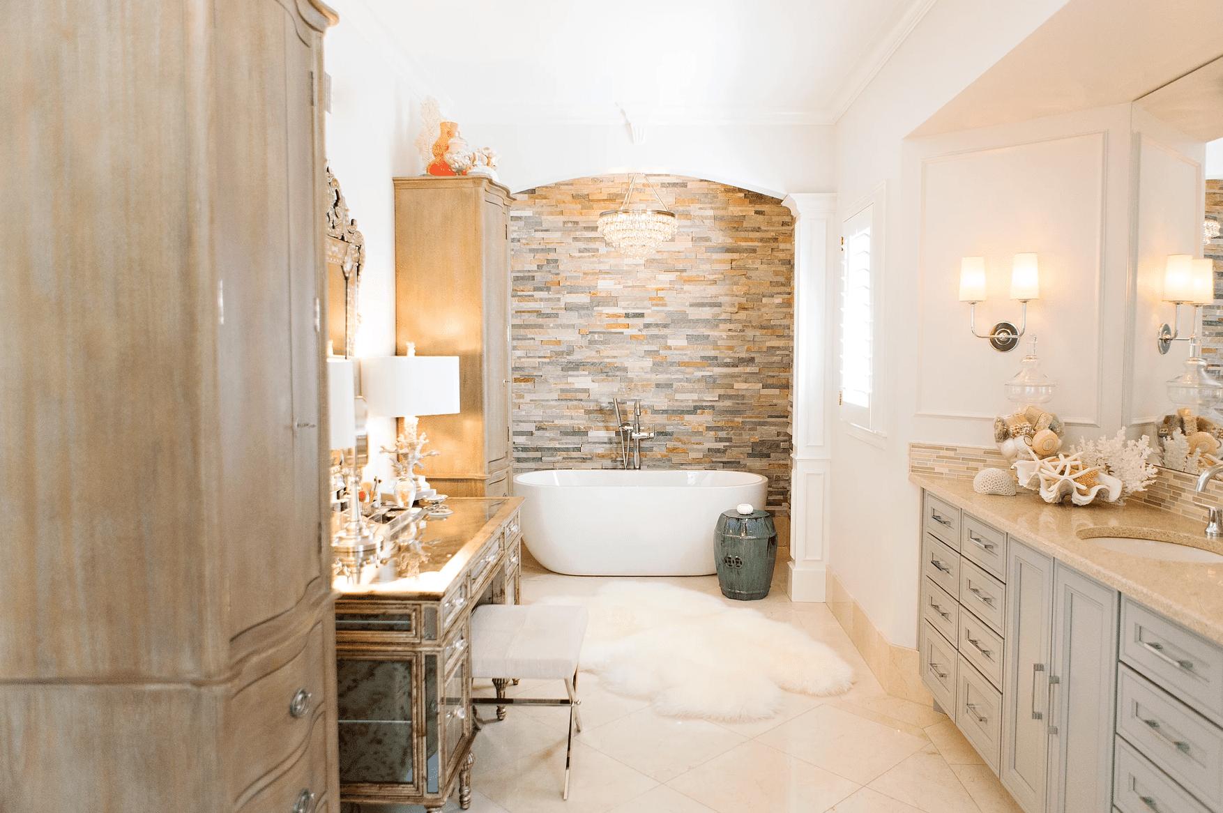 Neutral toned, tiled bathroom