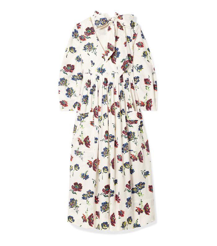 Isabeau Pleated Floral-print Cotton-poplin Midi Dress