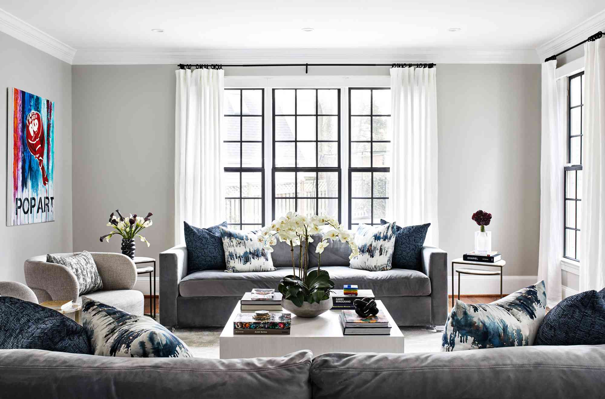 gray couches in living room