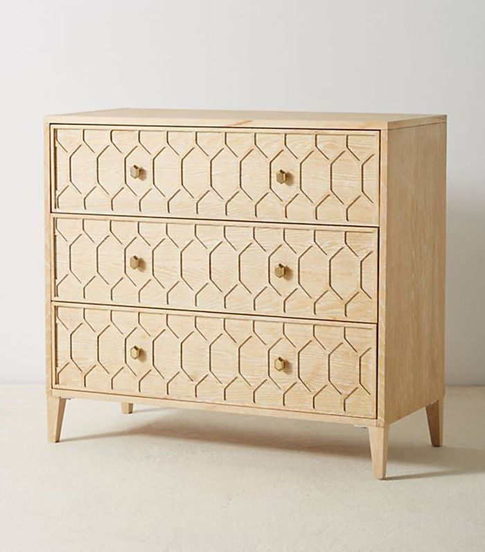 Textured Trellis Three-Drawer Dresser