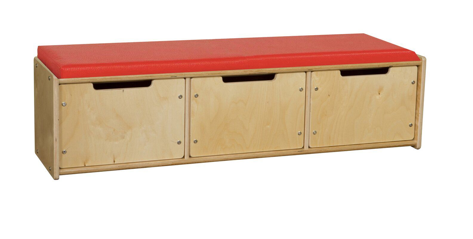 Red-topped wooden storage bench