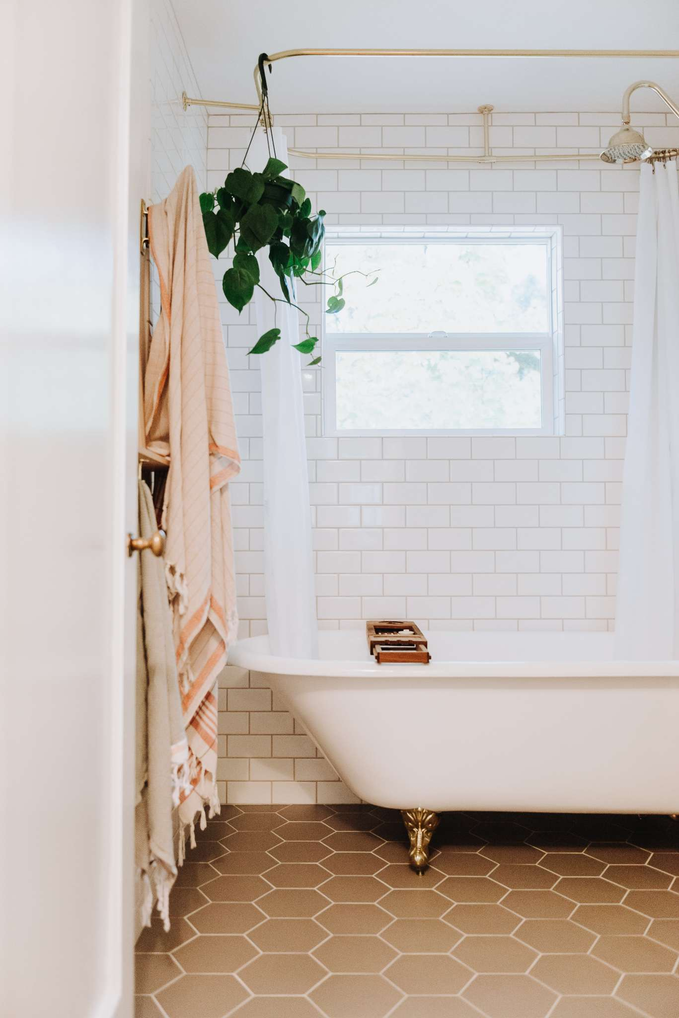 modern french style bathroom with clawfoot tub and plant