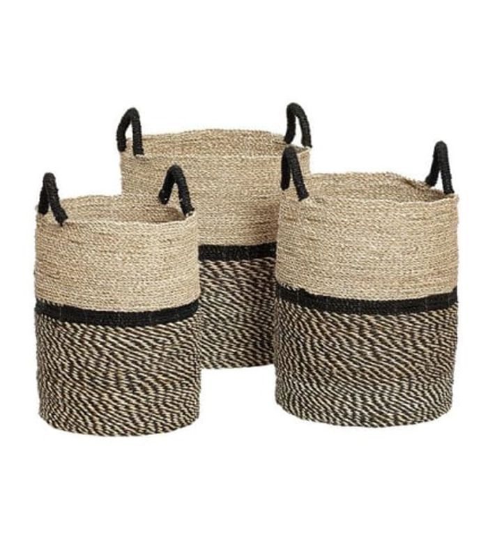 T&Shop Hubsch Trio Seagrass Storage Baskets With Handles