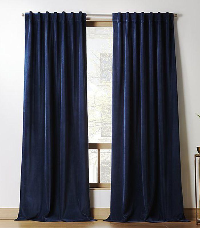 CB2 Velvet Navy Curtain Panel 48