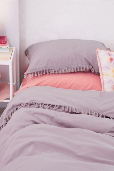 Washed Cotton Tassel Duvet Cover - Light Grey King at Urban Outfitters