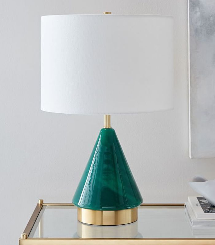 Metalized Glass Table Lamp + USB