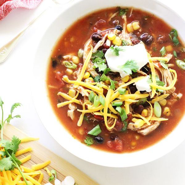 healthy slow cooker crockpot recipes - enchilada soup