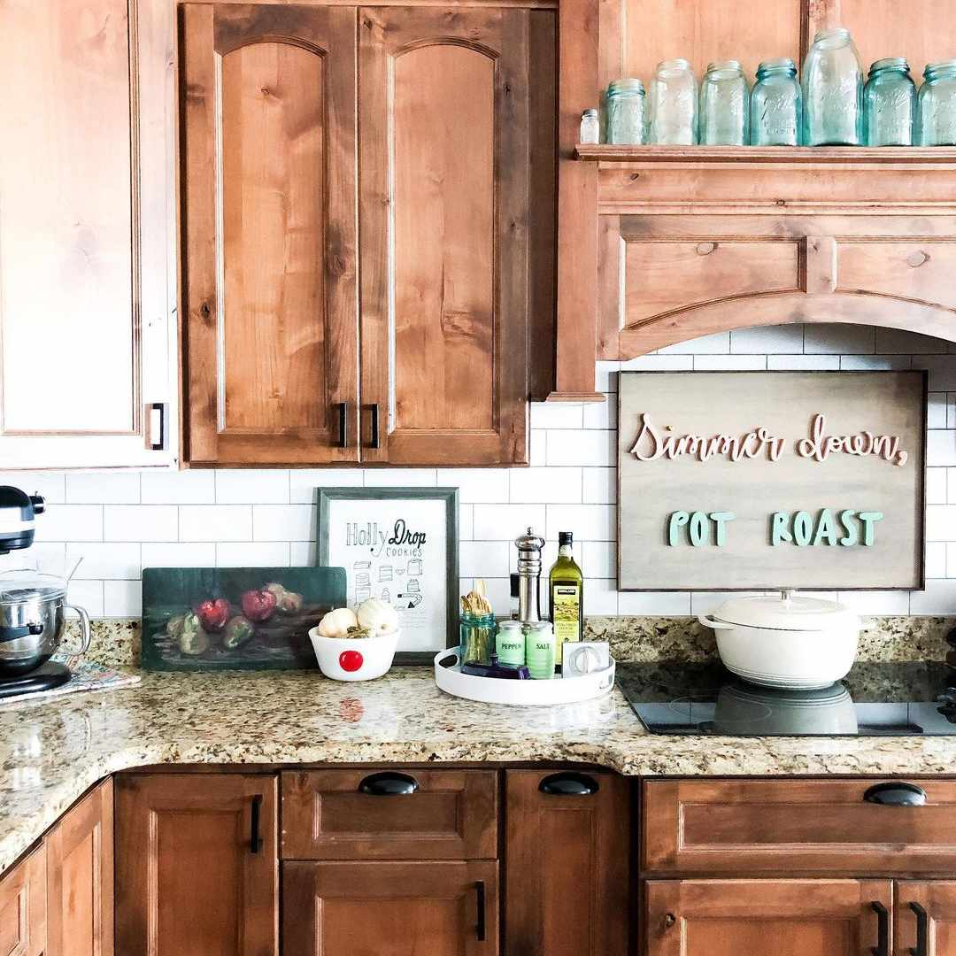 Brown kitchen with brown granite