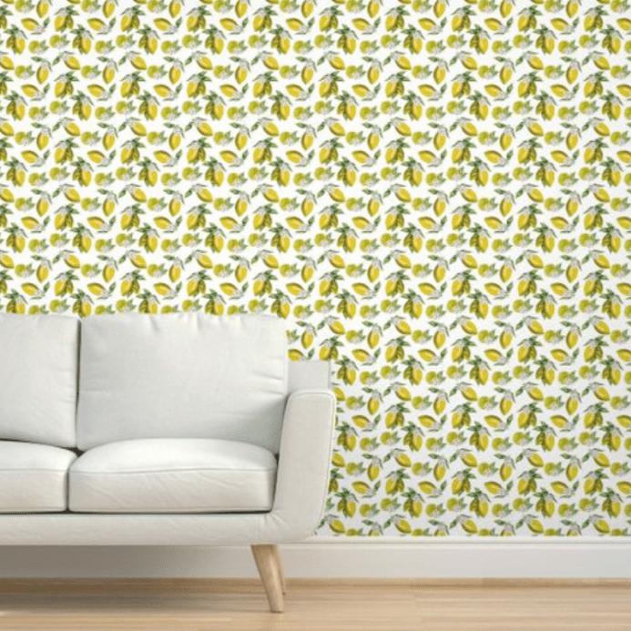 Spoonflower lemon wallpaper