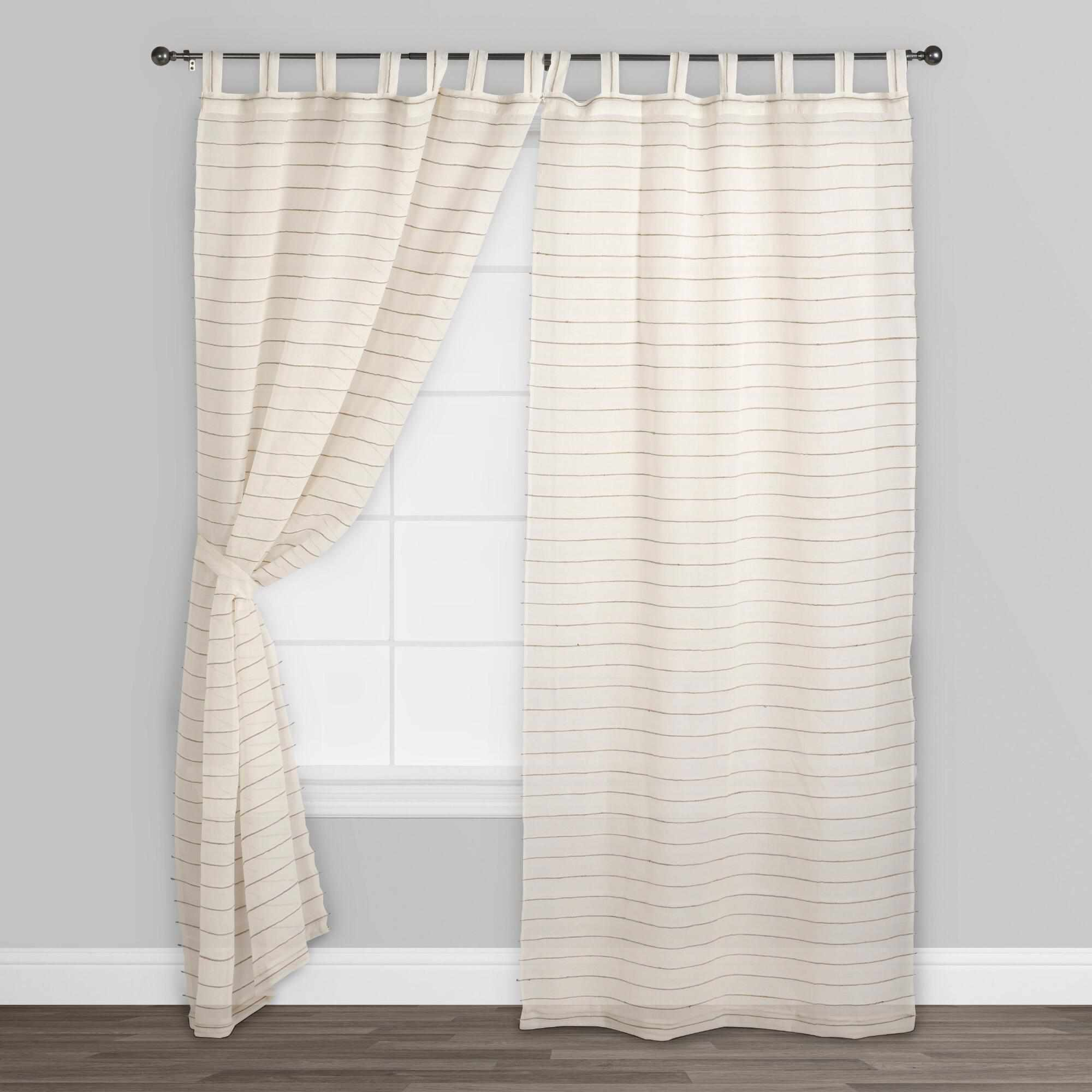 World Market Ivory Jute Striped Sahaj Tab Top Curtains