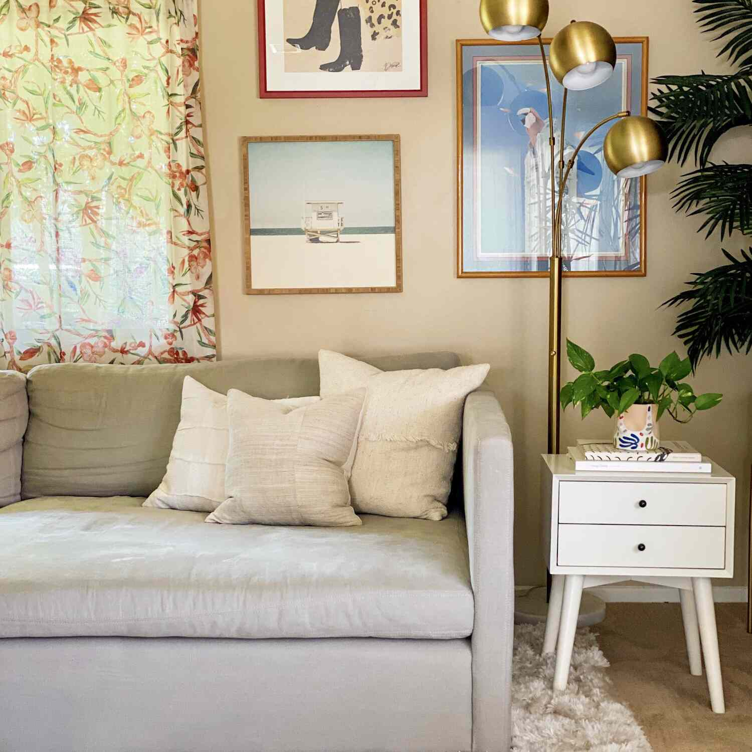 Rental living room with three arm lamp