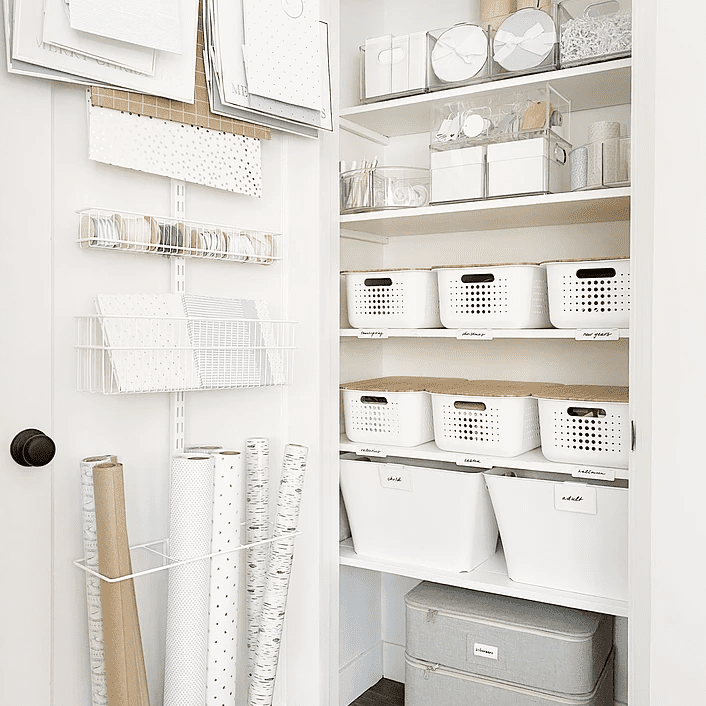 hall closet used for wrapping station