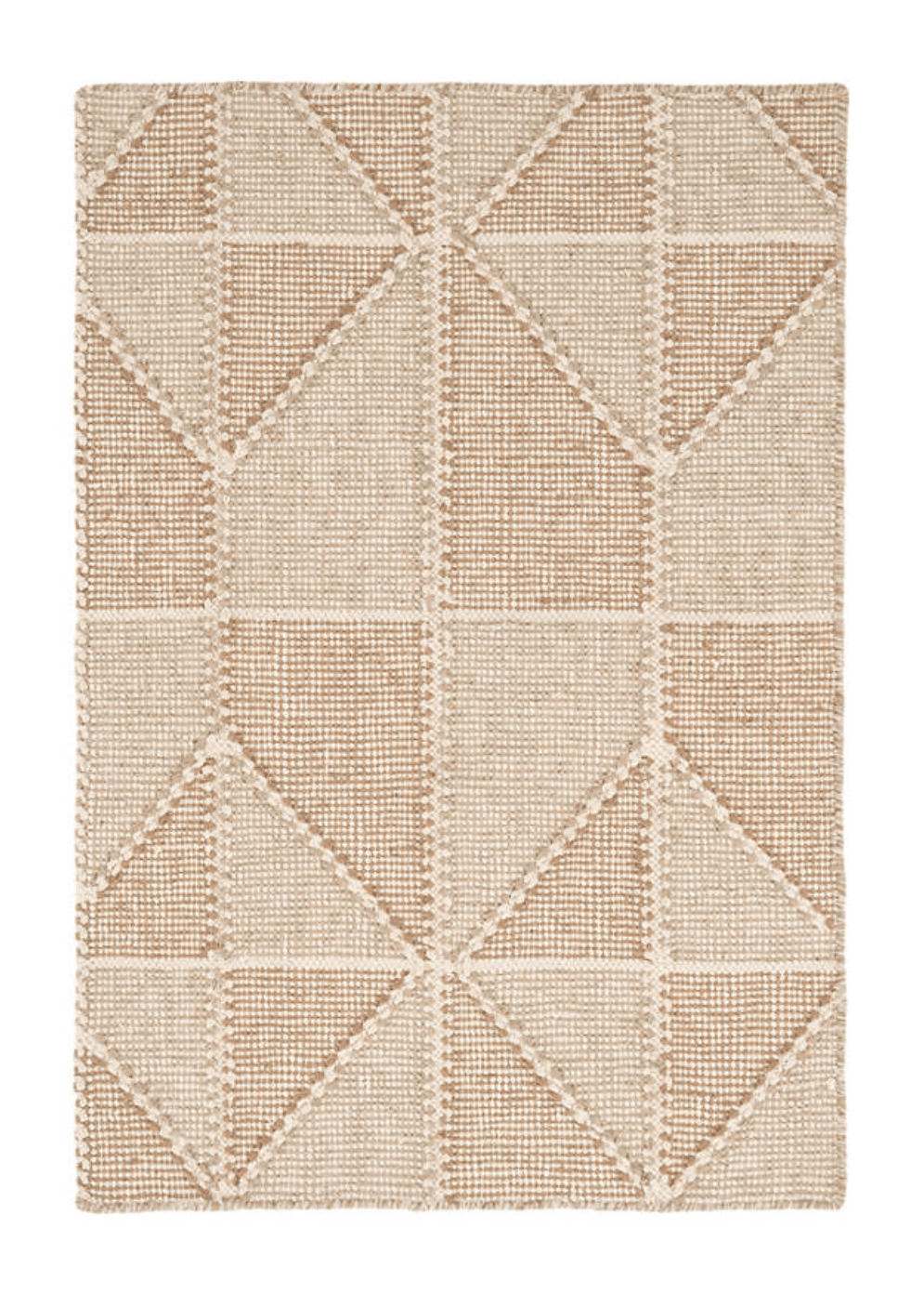A wheat-colored woven rug