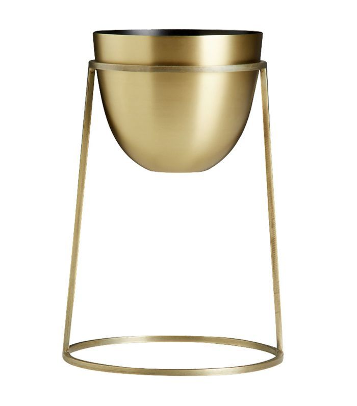 CB2 Milo Brass Planters on Stands