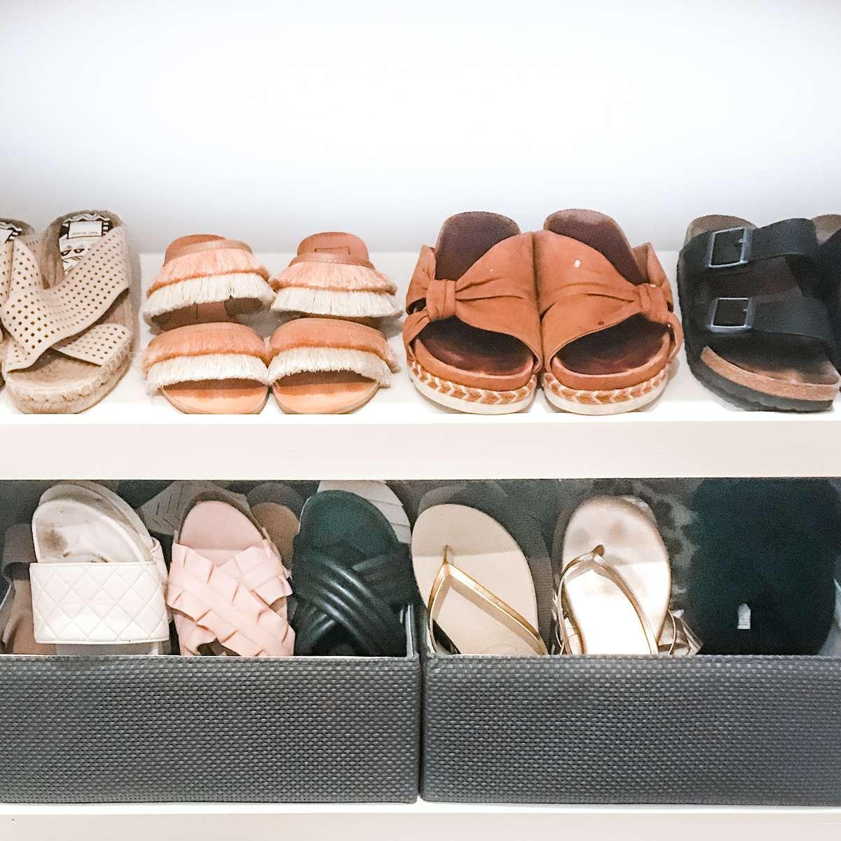 Sandals in baskets
