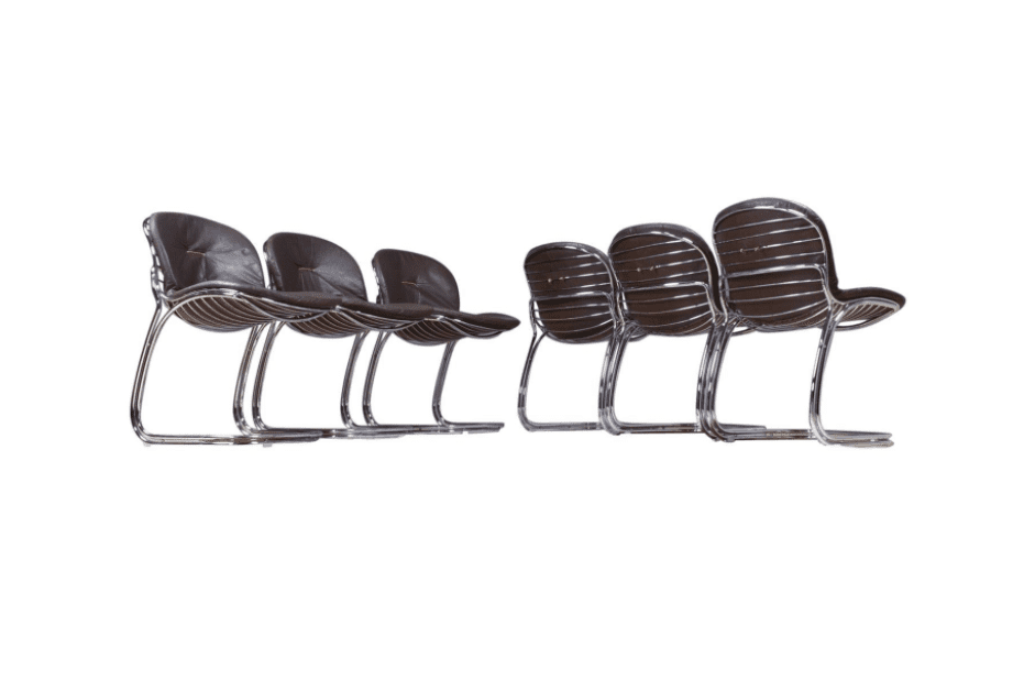 Italian Cantilever Dining Chair in Leather