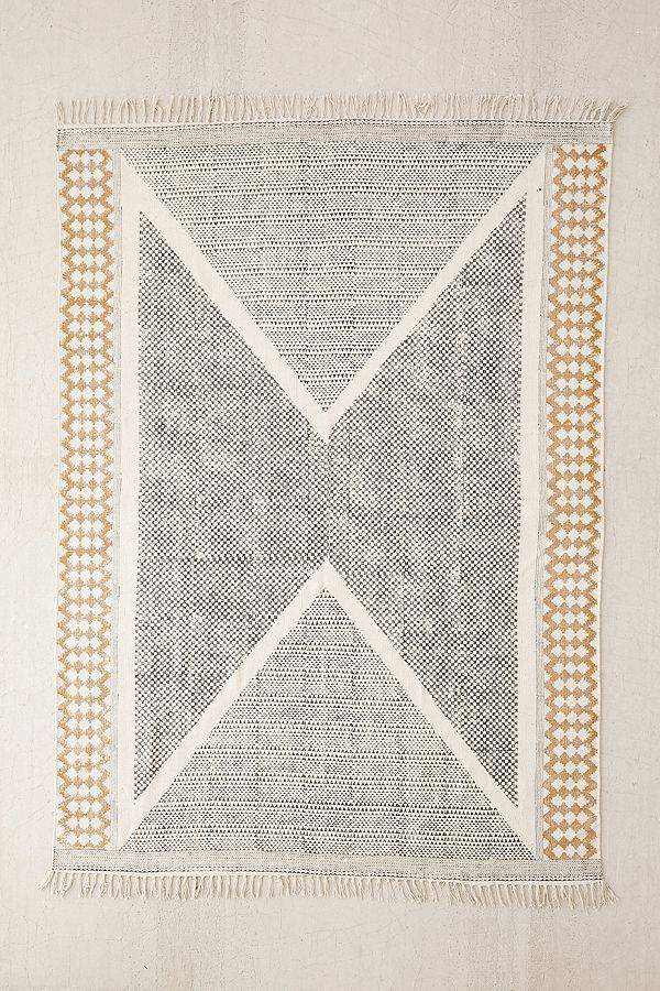 Calisa Block Printed Rug - Black/White 3 X 5 at Urban Outfitters
