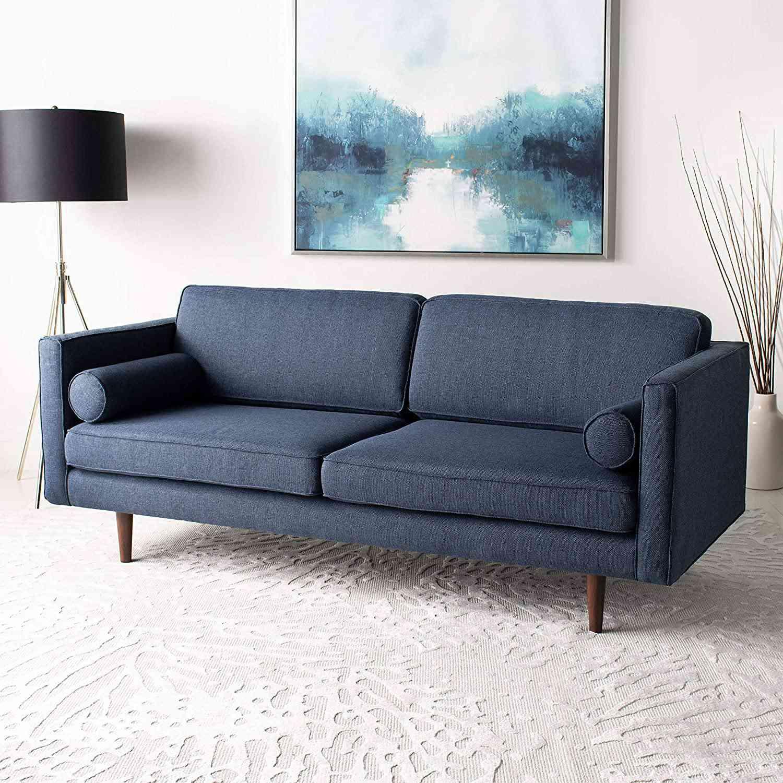navy mid-century sofa