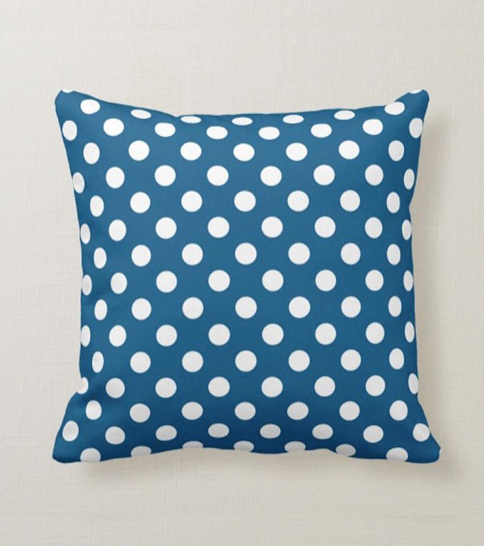 Zazzle Ocean Blue Large White Polka Dots Throw Pillow