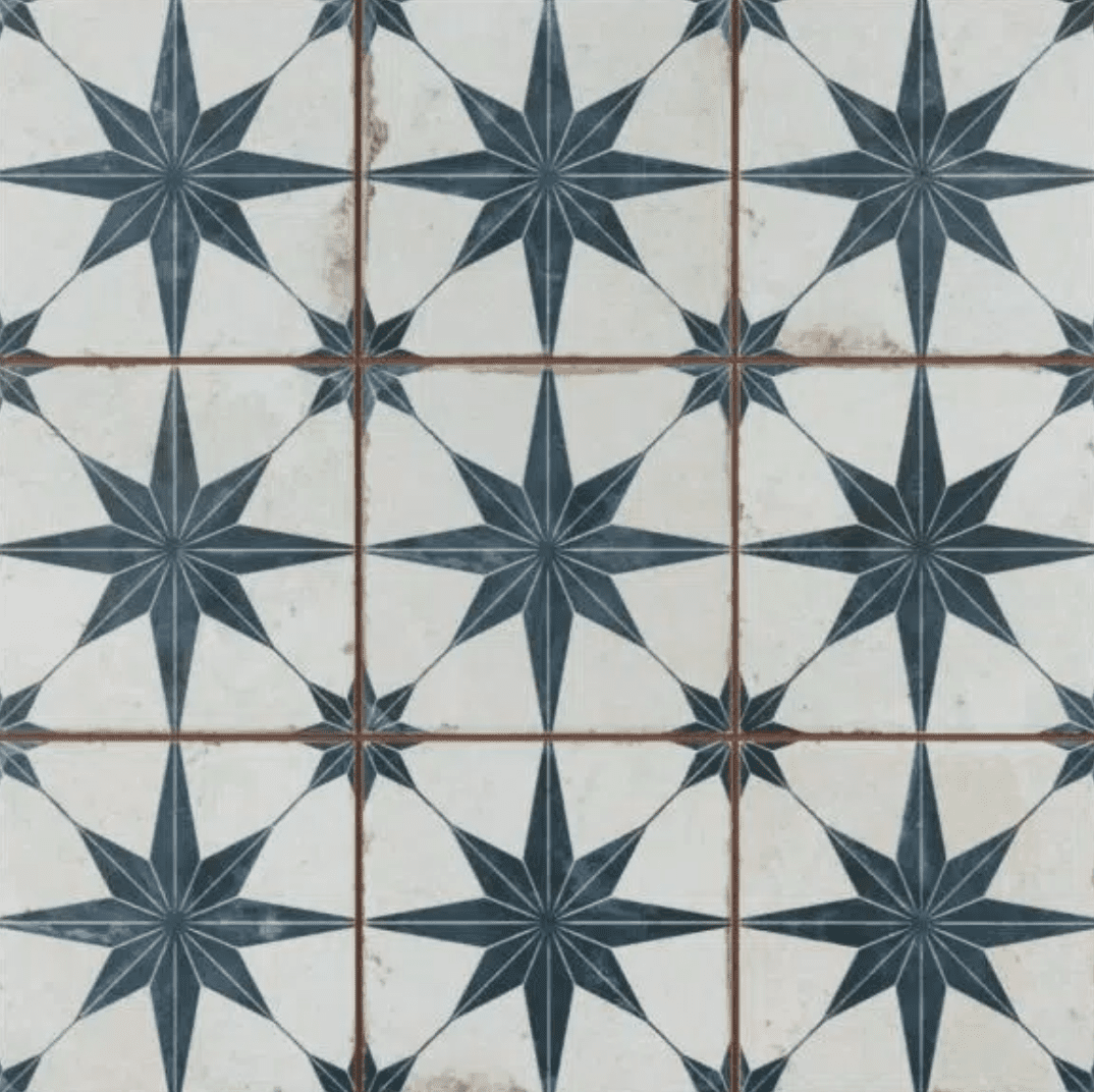 A series of blue and white printed tiles you can buy at Home Depot