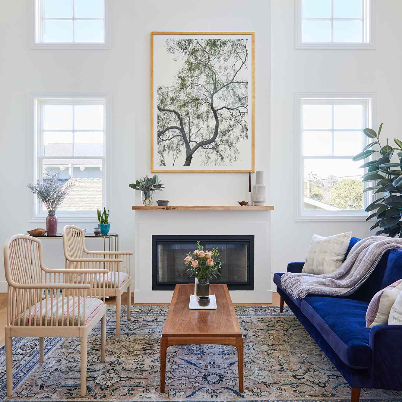 living room with vintage chairs