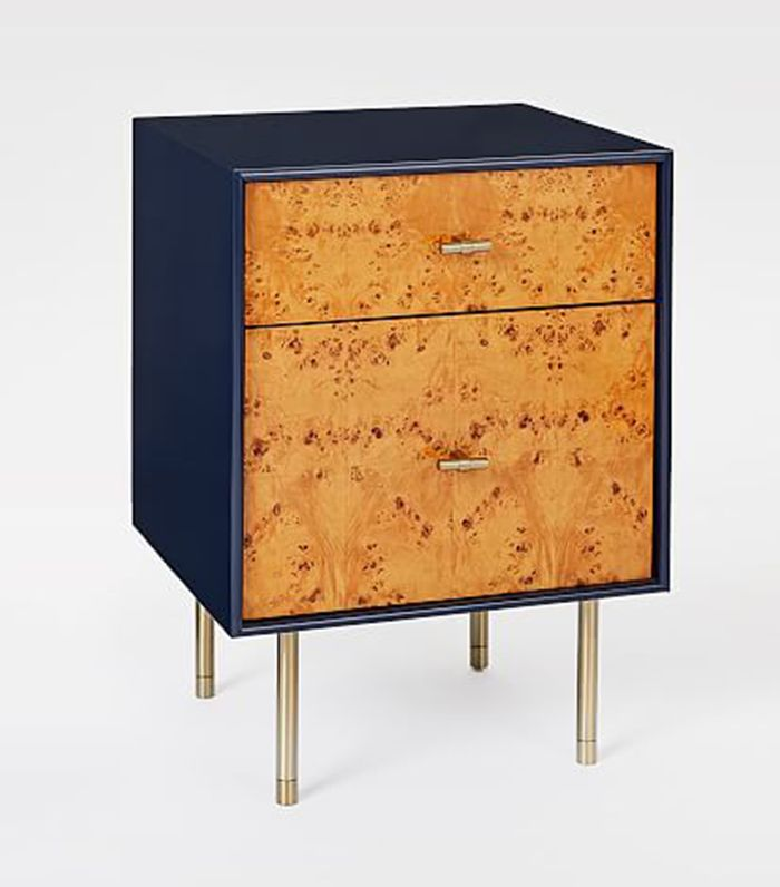 Modernist Wood + Lacquer Nightstand - Night Sky