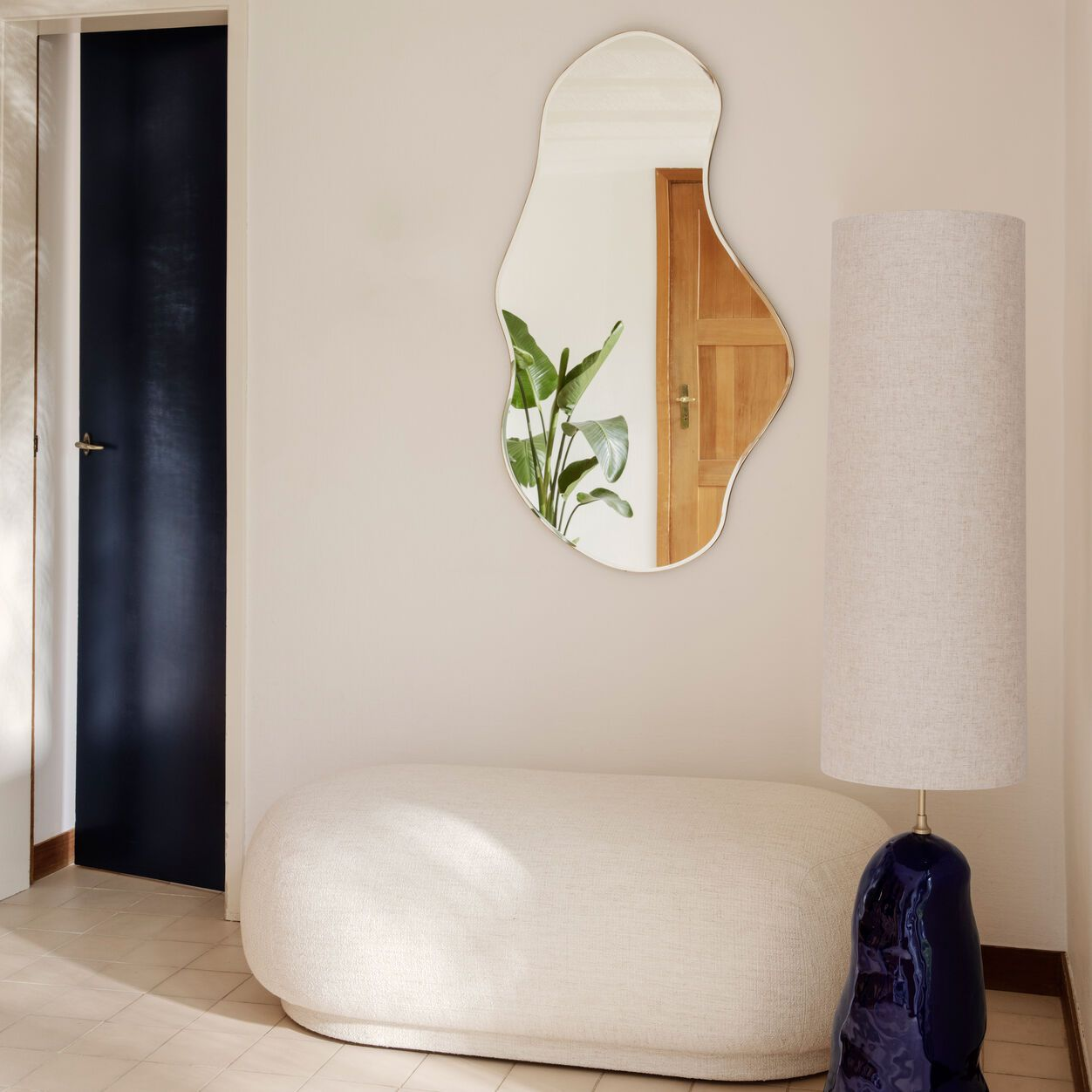 An abstract statement mirror, currently for sale at MoMA Design Store