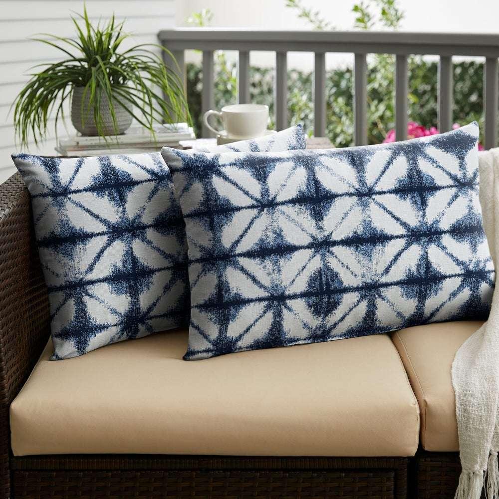 shibori style outdoor pillows