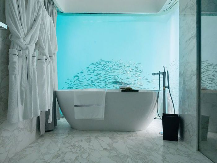 an underwater bathroom in the Floating Seahorse Signature Division