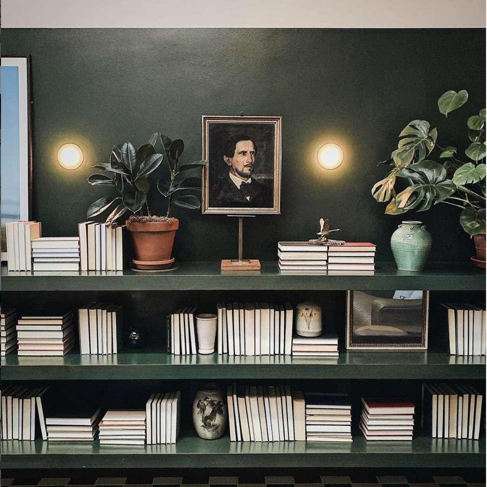 dark green long horizontal bookshelves
