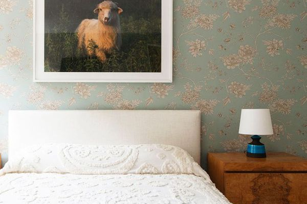 Burl wood furniture in a bedroom